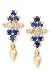 Anna Sheffield Women's 'Emma Bloom Bullet' Sapphire And Champagne Diamond Stud Earrings