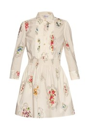 Red Valentino Smocked Detail Floral Print Dress White Multi