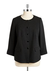 Nipon Boutique Plus Snap Front Blazer Charcoal