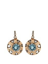 Selim Mouzannar Diamond And Aquamarine Mille Et Une Nuits Earrings Pink Gold