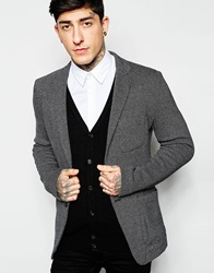 Sisley Unstructured Knitted Blazer In Slim Fit Black