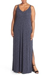 Plus Size Women's Caslon Double Strap Tank Maxi Dress Black Purple Pattern