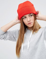 Asos Deep Turn Up Beanie In Red Red