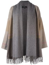 Salvatore Ferragamo Fringed Oversized Coat Grey