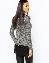 Lipsy Sequin Jumper With Chiffon Underlay And Zip Back Multi