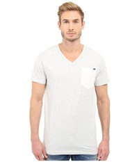 G Star Riban Short Sleeve V Neck Pocket Tee In Premium Compact Jersey Milk Heather Men's Short Sleeve Pullover White