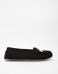 Ted Baker Sarsone Shearling Lined Black Suede Slippers