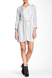 Pink Rose 3 4 Length Sleeve Stripe Shirt Dress White