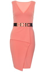Quiz Coral V Neck Peplum Bodycon Dress Orange