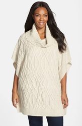 Caslon Cowl Neck Cable Knit Sweater Cape Beige Oatmeal Light Heather