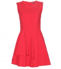 Alexander Mcqueen Draped Crepe Dress Red