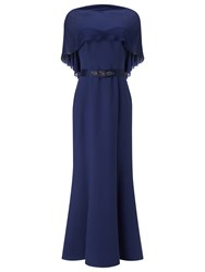 Jacques Vert Structured Bustier Cape Gown Navy