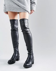 Glamorous Thigh High Chunky Heeled Over The Knee Boots Black Pu