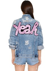 Forte Couture Cotton Denim Jacket W Glitter Patch