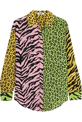 Moschino Cheap And Chic Patchwork Animal Print Silk Shirt