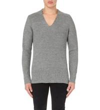 Sandro Textured V Neck Jumper Mocked Grey