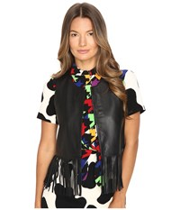 Boutique Moschino Leather Fringe Top Black