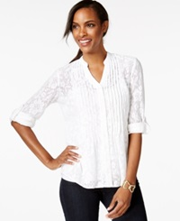 Style And Co. Petite Pintucked Button Front Lace Blouse Only At Macy's Bright White
