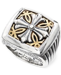 Effy Collection Effy Men's Cross Ring In Brass And Sterling Silver