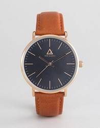 Asos Watch With Classic Face And Leather Strap Brown