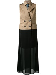 Guild Prime Sheer Panel Trench Dress Brown