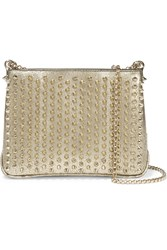 Christian Louboutin Triloubi Medium Spiked Textured Leather Shoulder Bag