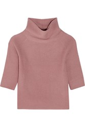 Allude Ribbed Cashmere Turtleneck Sweater Antique Rose