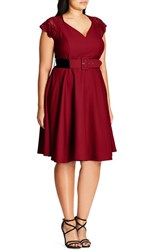 City Chic Plus Size Women's Lace Sleeve Belted Fit And Flare Dress Cherry