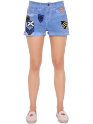 Mrandmrs Italy Military Patches Cotton Denim Shorts