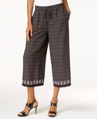 Vince Camuto Printed Cropped Wide Leg Pants Rich Black