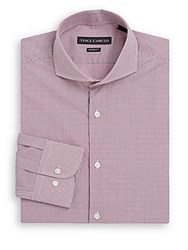 Vince Camuto Modern Fit Micro Gingham Cotton Dress Shirt Cinnamon Gingham