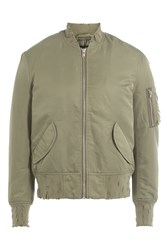 Iro Bomber Jacket With Distressed Detail Green
