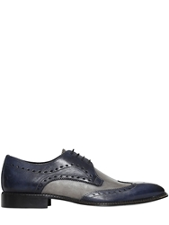 Wo Milano Brogue Leather Derby Lace Up Shoes Blue Multi
