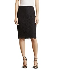 Ralph Lauren Scalloped Lace Pencil Skirt Black