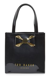 Ted Baker London 'Small Glitter Bow Icon' Tote Black