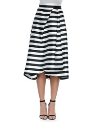 Nicholas Striped Full Skirt With Pleats White Black