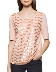 Calvin Klein Jeans Heathered Cotton Sequin Tee Pink