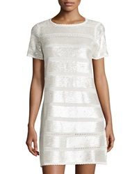 Catherine Catherine Malandrino Short Sleeve Sequined Knit Cocktail Dress Winter Whi
