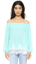 Re Named Scallop Lace Smocked Top Mint