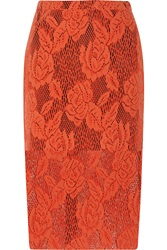 Msgm Coated Lace Skirt Red