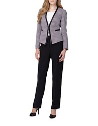 Tahari By Arthur S. Levine Open Tweed Jacket Pant Suit White Plum