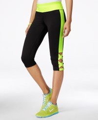 Material Girl Active Juniors' Crisscross Cropped Leggings Only At Macy's Black