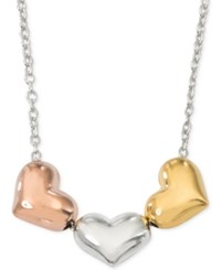 Giani Bernini Tri Tone Heart Necklace In Sterling Silver And 18K Gold And Rose Gold Plated Sterling Silver Only At Macy's Tri Tone