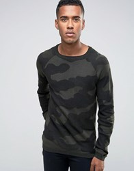 Jack And Jones Textured Camo Knitted Crew Neck Jumper Khaki Green