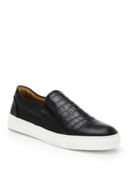 Saks Fifth Avenue Croc Embossed Leather Slip On Sneakers Black
