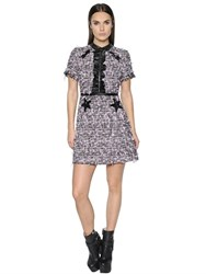 Giamba Faux Leather Trims Boucle Dress