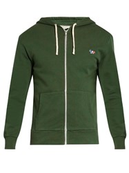 Maison Kitsune Fox Applique Zip Through Hooded Sweatshirt Green