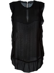Twin Set Sheer Ruffle Tank Black