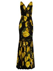 Dolce And Gabbana Lace Trimmed Tulip Print Silk Blend Gown Black Yellow