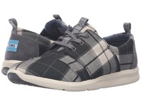 Toms Del Rey Sneaker Black White Plaid Women's Lace Up Casual Shoes